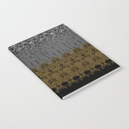 Damask Texture Border in Browns and Black Notebook