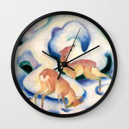 """Franz Marc """"Deer in the Snow"""" Wall Clock"""