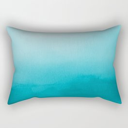 Teal and White Watercolor Abstract Art Gradient Rectangular Pillow