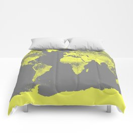 world maP Lemon Yellow & Gray Comforters