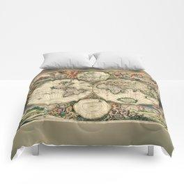 Old map of world (both hemispheres) Comforters