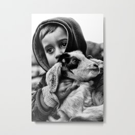 A Child Hugging A Baby Goat Metal Print