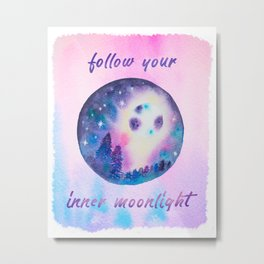 Follow your inner moonlight - moon watercolor Metal Print