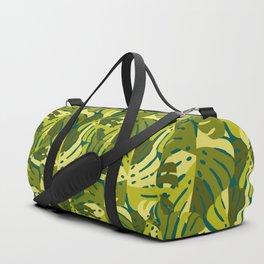 Monstera Leaves in Green Duffle Bag