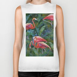 tropical pattern with flamingos Biker Tank