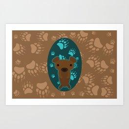 Bear with Paw Prints Art Print