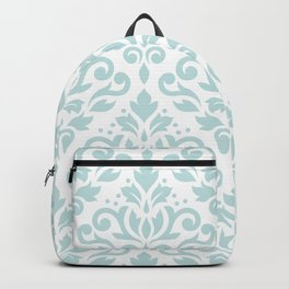Scroll Damask Lg Pattern Duck Egg Blue on White Backpack