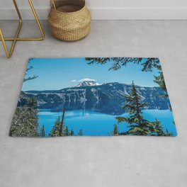 Crater Lake Views // National Park Landscape Photography Clear Deep Blue Waters Rug