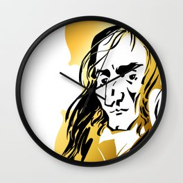 Niccolo Paganini and golden violin Wall Clock