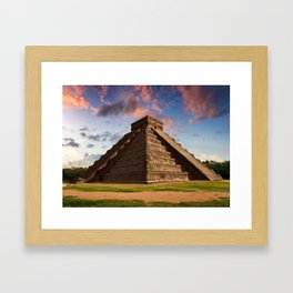 The Feather Serpent - Equinox in Kukulkan Pyramid, Chichen Itza Framed Art Print