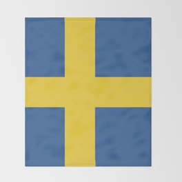 Sweden flag emblem Throw Blanket