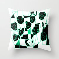 faces Throw Pillows featuring Faces by esther walter