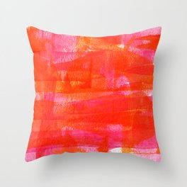 Magenta and Orange Abstract Painting by Emma Freeman Designs Throw Pillow