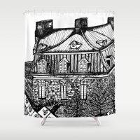 copenhagen Shower Curtains featuring Copenhagen by intermittentdreamscapes