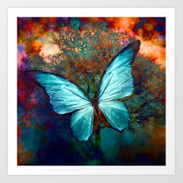 The Blue butterfly Art Print