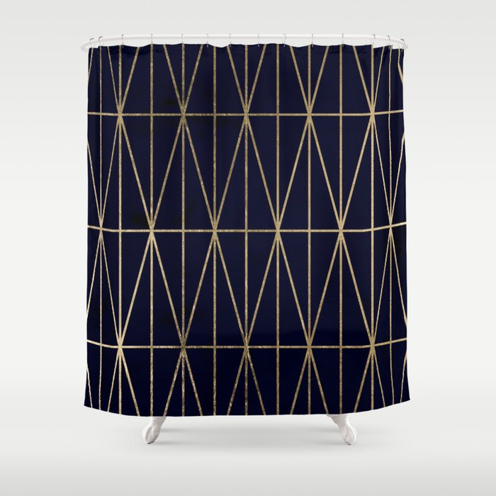 Modern Gold Geometric Triangles Pattern Navy Blue Watercolor Shower Curtain