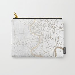 Bangkok Thailand Minimal Street Map - Gold Metallic and White IV Carry-All Pouch