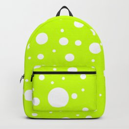 Mixed Polka Dots - White on Fluorescent Yellow Backpack