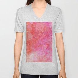 Abstract modern pink orange watercolor pattern Unisex V-Neck