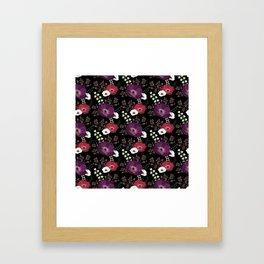 Violet & Pink anemones pattern Framed Art Print