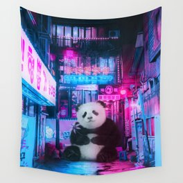 Giant panda in a Chinese street by GEN Z Wall Tapestry