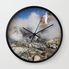 Hot springs, fumarole in crater active Mutnovsky Volcano on Kamchatka Peninsula Wall Clock