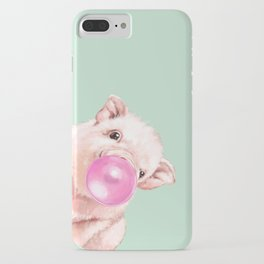 Bubble Gum Sneaky Baby Pig in Green iPhone Case
