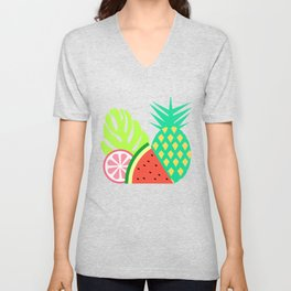 Watermelons and pineapples in blue Unisex V-Neck