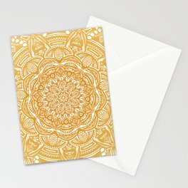 Golden Mustard Yellow Orange Ethnic Mandala Detailed Stationery Cards