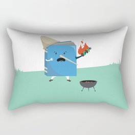 cute book character cooking in the park Rectangular Pillow
