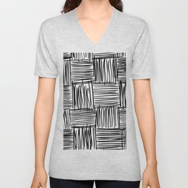 Modern Square Black on White Unisex V-Neck