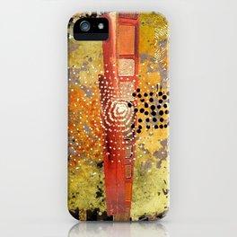 Orange Gold Burst Abstract Art Collage iPhone Case