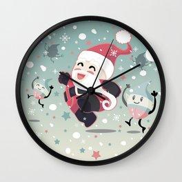 Cute Santa running Wall Clock