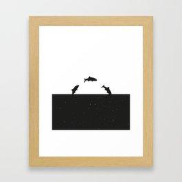 Fish print Black & White Framed Art Print