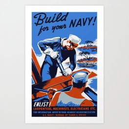 Build For Your Navy Art Print