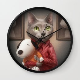 A cat holding a stuffed dog Wall Clock