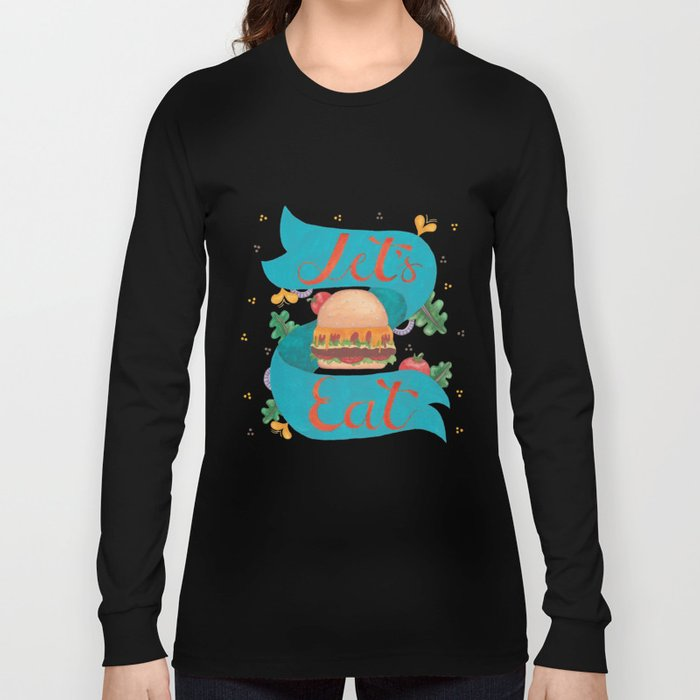 Food Burger Artwork With Lettering Long Sleeve T-shirt