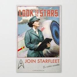 'Look to the stars' Vintage Retro Starfleet Recruitment poster Canvas Print