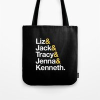 30 rock Tote Bags featuring 30 ROCK by Maria Giorgi