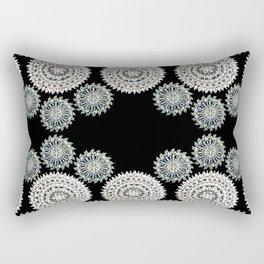 Silver and Black Mandala Circles Rectangular Pillow
