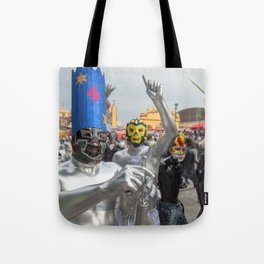 Silver Lucha Libre Tote Bag