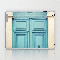 Paris door, pastel blue Laptop & iPad Skin