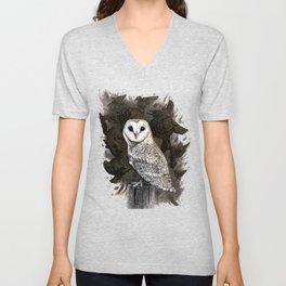 Barn Owl and Golden Starlings Unisex V-Neck