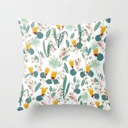 Spring Gardens Glowing Lotus White Throw Pillow