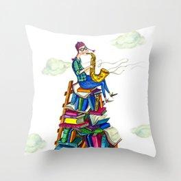 Jazzy books Throw Pillow