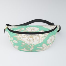 stylish golden and mint floral strokes design Fanny Pack