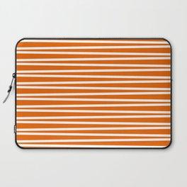 Bright orange and white thin horizontal stripes Laptop Sleeve