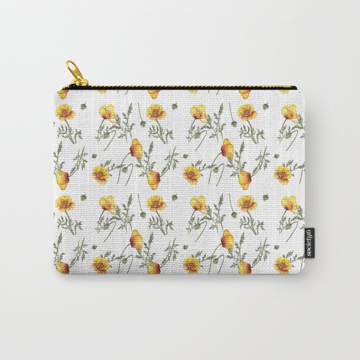 Yellow Poppy Pattern Carry-All Pouch