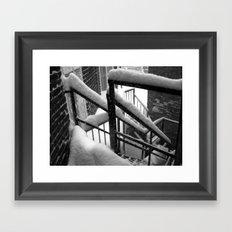 Snowy stairs. Framed Art Print