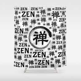 Enzo Circle and Zen symbol and word pattern Shower Curtain